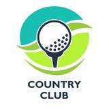 Golfowy klub poza miastem loga szablon lub ikona dla turnieju ilustracja wektor