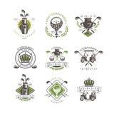 Golfowy turnieju loga set, rocznik etykietki dla golfowego mistrzostwa, sporta klub, wizytówki wektorowa ilustracja na bielu ilustracja wektor