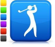 Golfpictogram op vierkante Internet-knoop Stock Fotografie