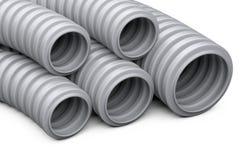 Golfpijp voor installatie van elektrokabel Grijze plast Stock Foto's