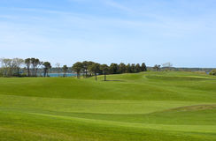 Golfplatz, übersehenozean des Countryklubs Stockfoto