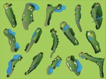 Golfplatz-Antennen-Abbildungen vektor abbildung