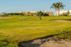 Golfplatz bei Sonnenuntergang Lizenzfreie Stockfotos