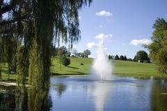 Golfplatz-Brunnen und Teich Stockbild