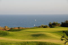 Golfplatz durch Ozean Stockbild
