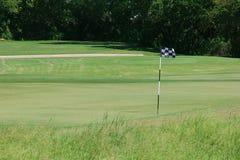 Golfplatz-Grün mit Markierungsfahne Stockbild