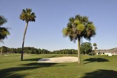 Golfplatz im späten Nachmittag Lizenzfreie Stockbilder
