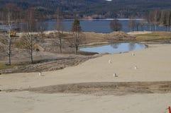 Golfplatz im Winter stockbild