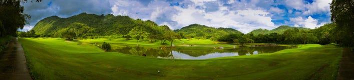 Golfplatz-Panorama Stockfotografie