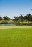 Golfplatz-und Pin-Markierungsfahne Stockfoto