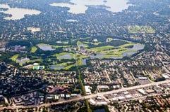 Golfplatz von oben Lizenzfreie Stockbilder