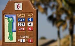 Golfplatz-Yardzahl-Markierung lizenzfreies stockfoto