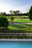 Golfplatzansicht vom Balkon Stockbild