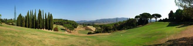 Golfplatzpanorama stockfotos