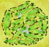 Golfplatzvogelperspektive stock abbildung
