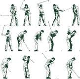 Golfschwingen positioniert vektorabbildung Stockfotografie