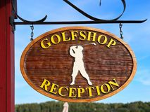Golfshop reception sign close up stock photography