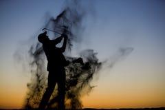 golfsilhouette Fotografering för Bildbyråer