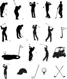 golfsilhouettes Royaltyfri Illustrationer