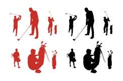 golfsilhouettes Fotografering för Bildbyråer
