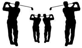 golfsilhouetteswing Royaltyfri Fotografi