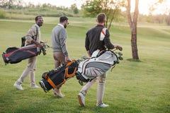 Golfspelare med golfklubbar i påsar som går på golfbana Royaltyfri Foto