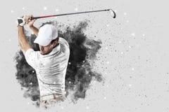 Golfspelare som kommer ut ur en tryckvåg av rök Fotografering för Bildbyråer