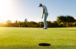 Golfspelare som sätter bollen i hål royaltyfri foto