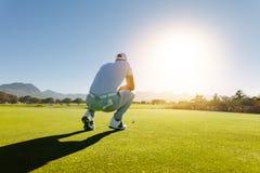 Golfspelare som siktar skottet på kurs Royaltyfria Bilder