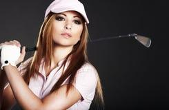golfspelarekvinna Fotografering för Bildbyråer