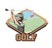 Golfspeler in de cursus stock illustratie