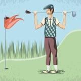 Golfspeler in de cursus royalty-vrije illustratie