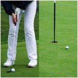 Golfspeler die de bal zet Stock Afbeeldingen