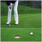 Golfspeler die de bal zet Stock Foto