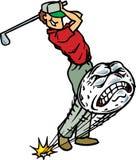 Golfspeler die golfball raakt Stock Afbeelding