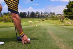Golfspeler die het omhoog Teeing Royalty-vrije Stock Foto's