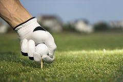 Golfspeler die T-stuk en Bal plaatst stock foto