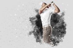 Golfspeler die uit een ontploffing van rook komen royalty-vrije stock afbeeldingen