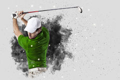 Golfspeler die uit een ontploffing van rook komen royalty-vrije stock foto