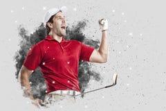 Golfspeler die uit een ontploffing van rook komen stock fotografie