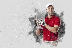 Golfspeler die uit een ontploffing van rook komen stock foto's
