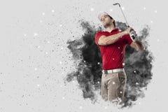 Golfspeler die uit een ontploffing van rook komen stock foto