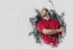 Golfspeler die uit een ontploffing van rook komen stock afbeeldingen