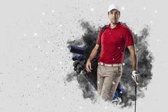 Golfspeler die uit een ontploffing van rook komen royalty-vrije stock afbeelding