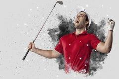 Golfspeler die uit een ontploffing van rook komen royalty-vrije stock foto's