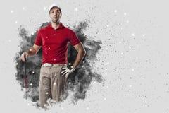 Golfspeler die uit een ontploffing van rook komen stock afbeelding