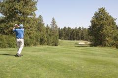 Golfspeler die weg Teeing Royalty-vrije Stock Afbeeldingen