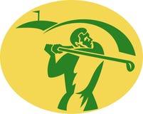 Golfspeler die weg teeing vector illustratie