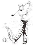 Golfspeler - een getrokken en geschilderde hand illustratie royalty-vrije illustratie