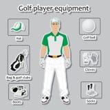 Golfspeler en materiaal royalty-vrije illustratie